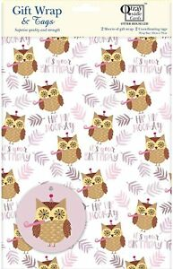 Birthday Owl Hip hip Hooray it's your Birthday gift wrap 2 sheets & 2 tags