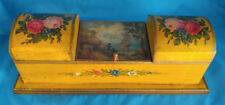 FABULOUS FRENCH TOLEWARE HAND PAINTED  INKWELL STAMP BOX  SHIP PAINTING C-1860