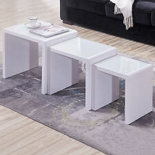 Modern High Gloss White + White Tempered Glass Top Coffee Table Nest of 3 Units