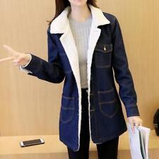 2018 UK Winter new women 's clothes long section lambs wool denim jacket coat