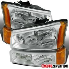 For 2003-2006 Chevy Silverado Avalanche Clear Headlights+Bumper Lamps+Amber