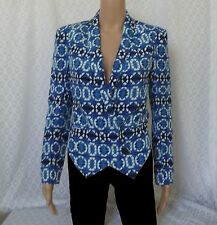 Rebecca Minkoff Becky Jacket Silk Double Breasted Blue White Blazer xs Size 0