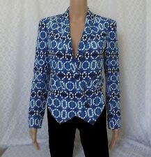 Rebecca Minkoff Becky Jacket Silk Double Breasted Blue White Blazer xs Size 0
