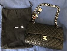 CHANEL Black Quilted Lambskin Leather Valentine Flap Bag