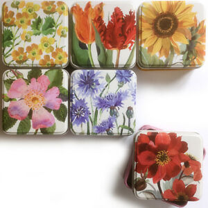 6 FLOWERS SQUARE TIN BOX Emma Bridgewater Keepsake Storage Trinket Birthday Gift
