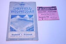 ENGLAND v SCOTLAND 26/10 1955 Football Programme HILLSBOROUGH VGC + MATCH TICKET