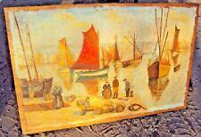 peinture sur panneau de contreplaqué  port de BRETAGNE