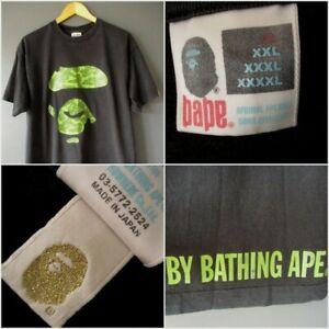 "VTG 2005 BAPE APRIMAL APEAREL T-SHIRT (XL) BLACK ""REVERSE CAMO APE"" GREEN Excell"