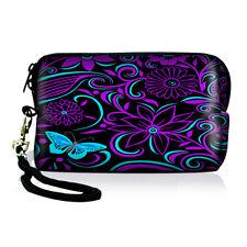 Purple Blue Digital Camera Phone Bag Sleeve Pouch Universal Case Cover Pocket