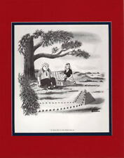 Chas Addams - BUILDING A PYRAMID MATTED PRINT Frame Ready