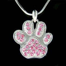 w Swarovski Crystal Pink Dog KITTY CAT Kitten ~Pawprint Paw Print charm Necklace