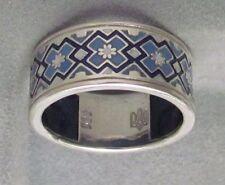 Ukrainian Embroidery Rushnyk Towel Ring, Blue-White-Black Enamel, S.S. 11 #2