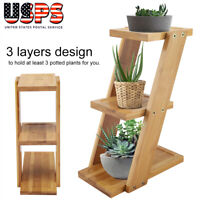 3-Tier  Bamboo Potted Plant Flower Holder Stand Indoor Plant Display Rack Shelf