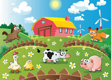 Photo Wallpaper - ANIMALS FARM - Kids room wall Mural 254x183cm for baby bedroom