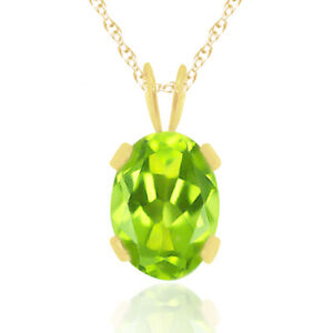"""0.80 CT OVAL CUT GREEN PERIDOT GOLD OVER PENDANT WITH 18"""" CHAIN"""