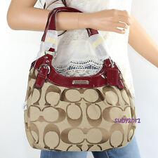 NWT Coach Soho Signature Hobo Shoulder Bag Handbag F19445 Khaki Red NEW RARE