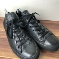 Low Top Converse All Star Black Leather Trainers Size 7