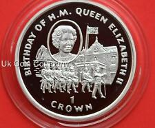 1997 Gibraltar Silver Proof One Crown Coin Queens Birthday Trooping The Colours