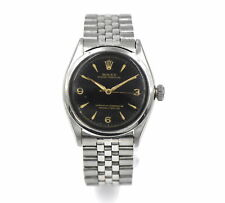VINTAGE ROLEX OYSTER PERPETUAL 6284 WRISTWATCH BLACK GILT DIAL STAINLESS STEEL