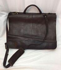 Vtg SOFT Leather Laptop Computer Messenger Bag Slim Briefcase Full Double Flap