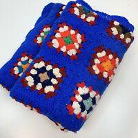 Vintage Vibrant Blue Granny Square Afghan Throw Blanket 50 x 70