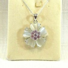 Created Grey Mother Of Pearl & Pink Cubic Zirconia Sterling Silver Necklace