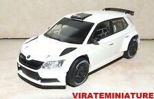 SKODA FABIA R5 WHITE VERSION RALLYE TEST CAR JANTES NOIRES ABREX 1/43