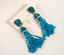 Kendra Scott Cecily Statement Clip on Earrings Teal Beaded Agate
