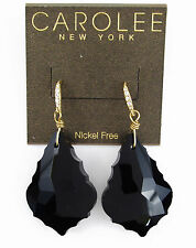 $75 Carolee Gold Tone GILDED GLIMPSE Black Large Stone Teardrop Earrings NEW