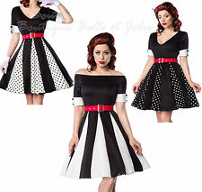 Markenlose knielange Damenkleider im 50er-Jahre-Stil aus Polyester