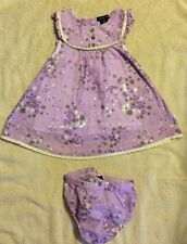Calvin Klein Baby Girls Dress Size 12 Months Lavender With Flowers Beautiful !