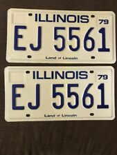 Vintage Pair of Brand New 1979 IL Land of Lincoln automobile plates/tags