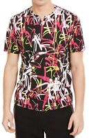 INC Mens T-Shirt Pink Black Medium M Heart Graffiti Print Split Neck Tee $29 004