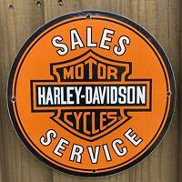 VINTAGE HARLEY DAVIDSON MOTORCYCLES PORCELAIN METAL SIGN SALES SERVICE GAS OIL