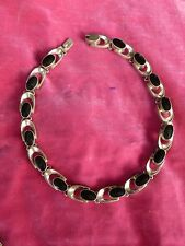 CHIC MEXICAN STERLING SILVER AND ONYX NECKLACE