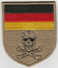 GERMANY. MORALE PATCH. GERMAN FLAG & SKULL'N'BONES DESERT SHIELD. FREE SHIPPING