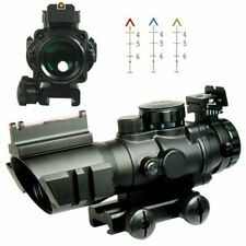 4X32 Tactical Rifle Scope - Tri-Illuminated Chevron Recticle Fiber Optic Sight
