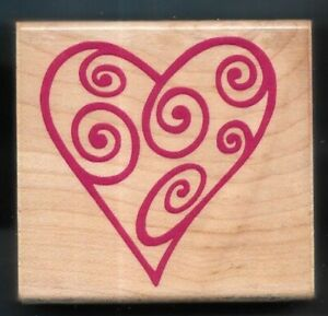 HEART SWIRL Valentine Day WEDDING SHOWER gift tag Card RUBBER STAMPEDE STAMP