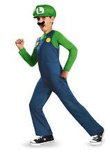 Licenced Kids Super Mario Bros Luigi Green Plumber Fancy Dress Costume Size S-L