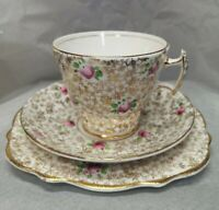 Three Piece Phoenix Bone China Tea plate saucer and cup Floral with gold Gift