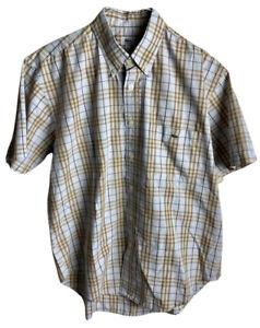LACOSTE Classic Men's Shirt Short Sleeve Button Cotton Khaki/Brown Size L 39.