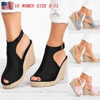 Womens Wedges Heel Sandals Casual Straw Platform Peep Toe Ladies Buckle Shoes US