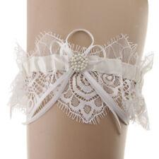 Wedding Bridal Garter Rhinestone Pearls Elastic Keepsake &Toss Lace Garter