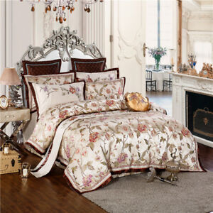 Queen & King Size Gold Heavy Jacquard Luxury Royal Duvet set Cover Bedding Sets