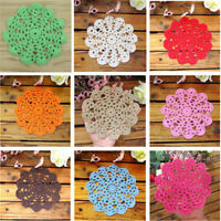 2pcs Handmade Crochet Lace Cotton Table Cup Mats Doilies Placemat Coasters