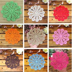 2pcs Handmade Crochet Lace Cotton Table Cup Mats Doilies Placemat Coasters