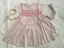 Girls Hand Embroided Short Sleeves Little Flowers Dress Size 18M (A6)
