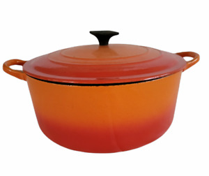 Vintage Le Creuset Enameled Cast Iron Dutch Oven Made in France Orange