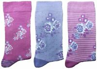 3 Pairs of Ladies JA51 Patterned Cotton Socks by Jennifer Anderton , UK Size 4-8