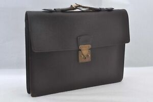 Authentic Louis Vuitton Taiga Kourad Brief Case Hand Bag Episea Brown LV A0059
